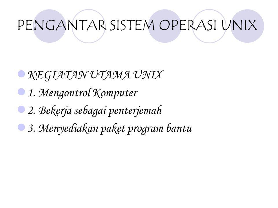 UNIX : SISTEM OPERASI PENDAHULUAN UNIX merupakan sistem operasi yang tidak bergantung pada perangkat keras