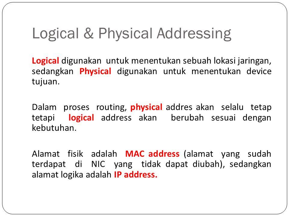 Logical & Physical Addressing Logical digunakan untuk menentukan sebuah lokasi jaringan, sedangkan Physical digunakan untuk menentukan device tujuan.