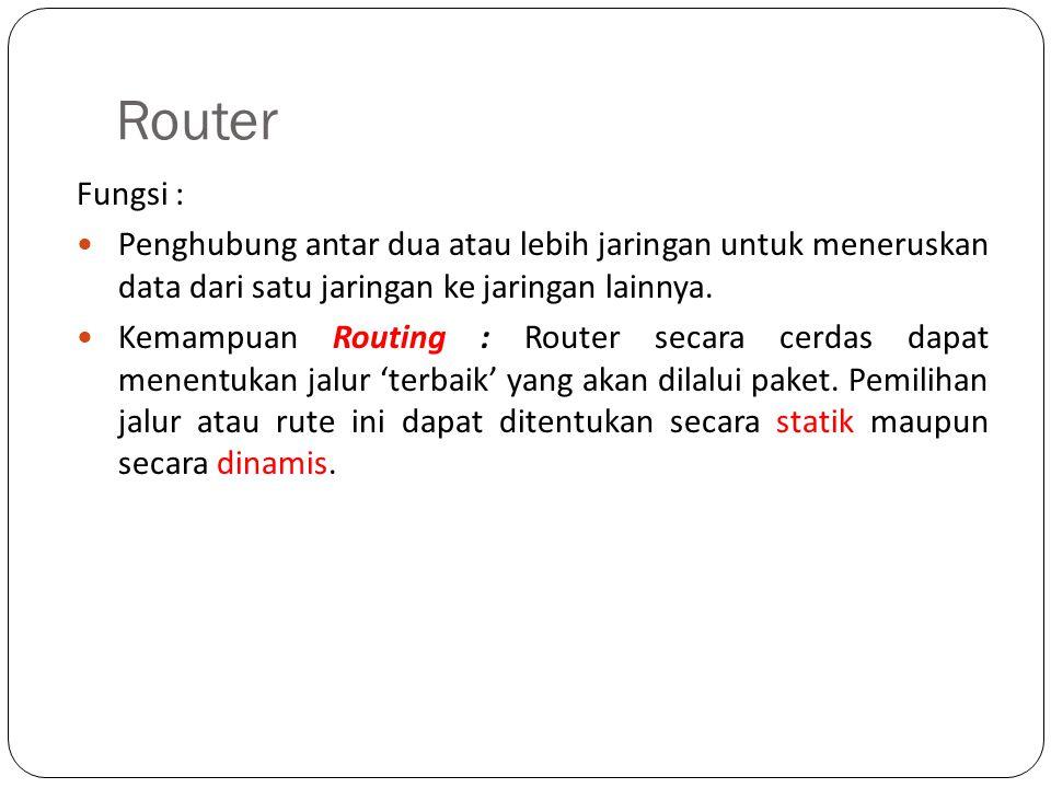Router Fungsi : Penghubung antar dua atau lebih jaringan untuk meneruskan data dari satu jaringan ke jaringan lainnya. Kemampuan Routing : Router seca