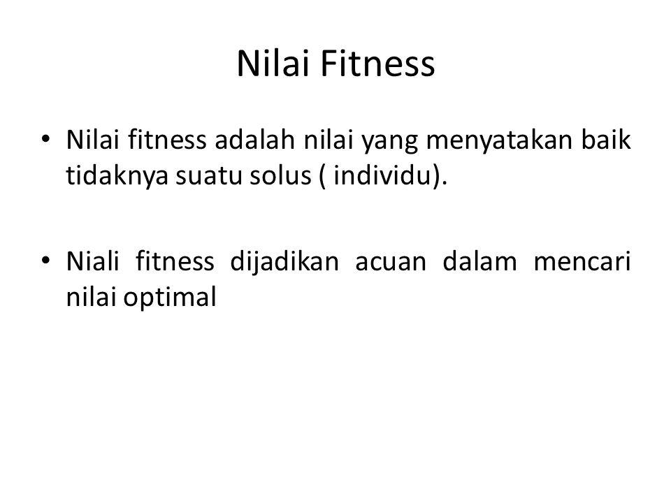 Nilai Fitness Nilai fitness adalah nilai yang menyatakan baik tidaknya suatu solus ( individu). Niali fitness dijadikan acuan dalam mencari nilai opti