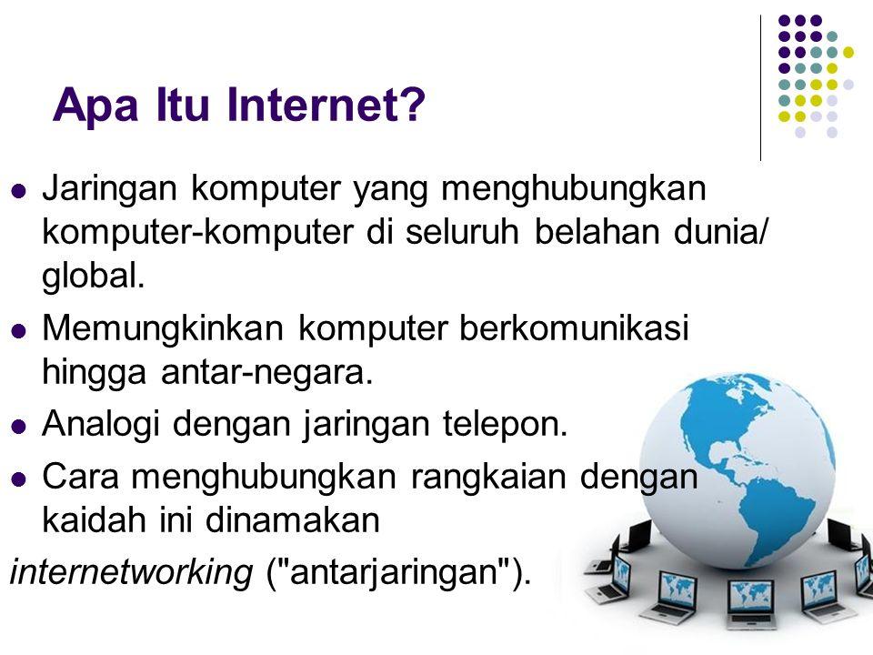 KONSEP DASAR INTERNET Agar dapat mengenal internet lebih mendalam dan tidak hanya mengetahui dfinisinya saja, maka hal paling dasar dalam internet adalah : Network Sebuah PC dapat dihubungkan dengan PC lainnya dengan kabel agar dapat saling berkomunikasi (biasanya hanya mentransfer data).