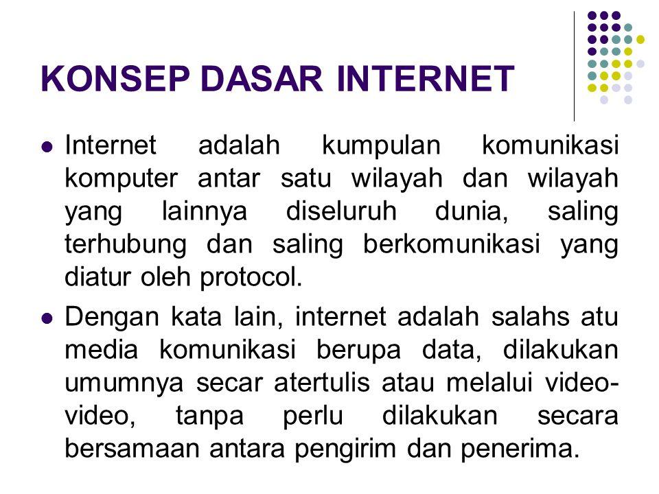 Konsep Dasar Internet Internet merupakan kumpulan jaringan komunikasi computer yang ada diseluruh dunia.dalam hal ini komputeryang dahulunya stand alone,maka dengan kemajuan tekhnologi perangkat keras dan lunak computer maka saat ini dapat berhubungan langsung dengan komunikasi komputer ditempat lain seluruh dunia ini,dengan internet.