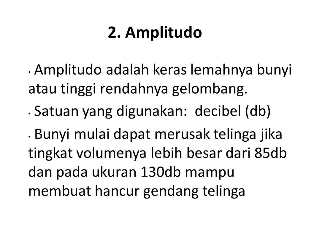2. Amplitudo Amplitudo adalah keras lemahnya bunyi atau tinggi rendahnya gelombang. Satuan yang digunakan: decibel (db) Bunyi mulai dapat merusak teli