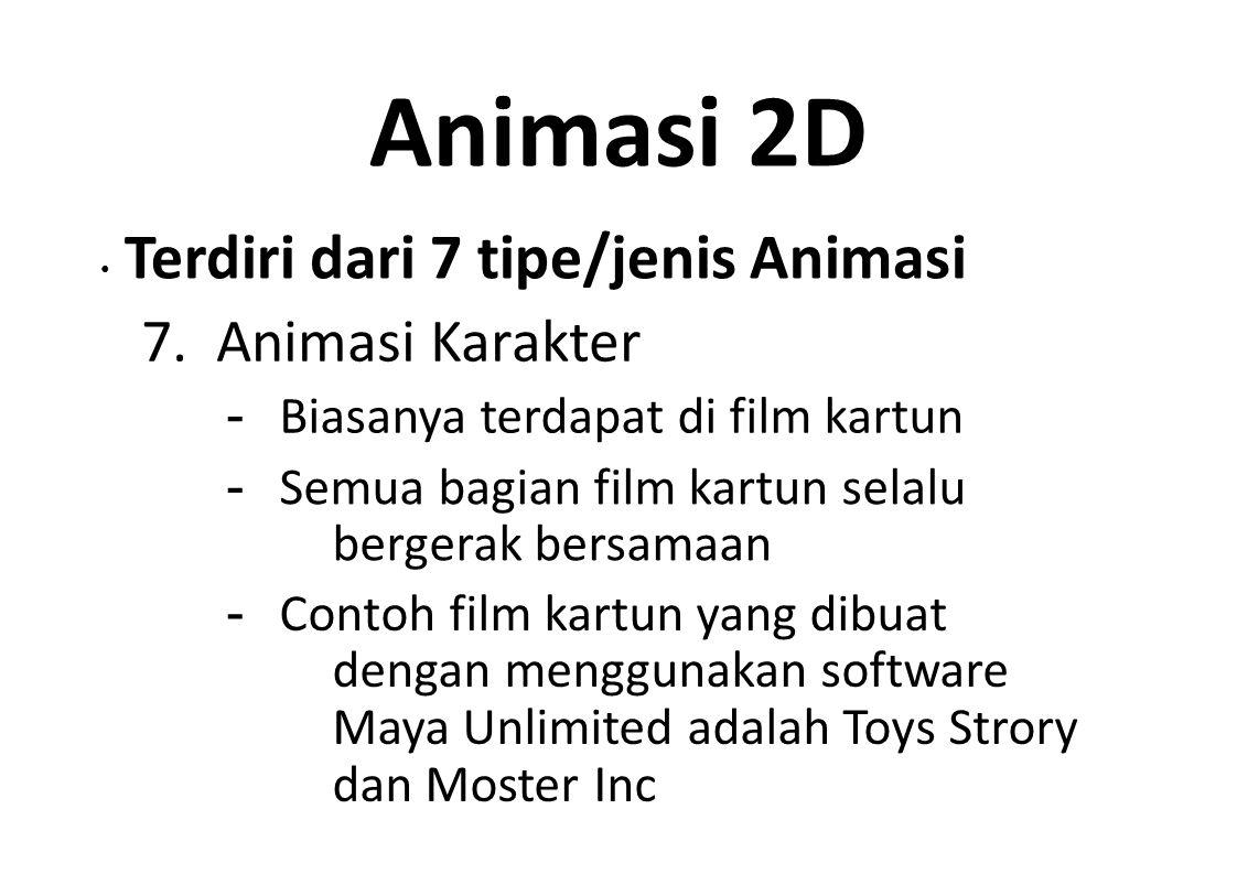 Animasi 2D Terdiri dari 7 tipe/jenis Animasi 7. Animasi Karakter - Biasanya terdapat di film kartun - Semua bagian film kartun selalu bergerak bersama