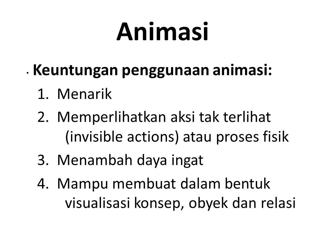 Animasi Keuntungan penggunaan animasi: 1. Menarik 2. Memperlihatkan aksi tak terlihat (invisible actions) atau proses fisik 3. Menambah daya ingat 4.