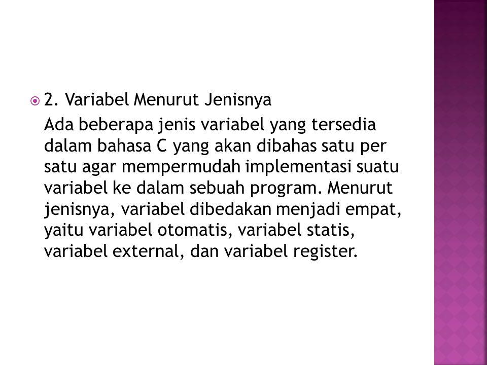  2. Variabel Menurut Jenisnya Ada beberapa jenis variabel yang tersedia dalam bahasa C yang akan dibahas satu per satu agar mempermudah implementasi