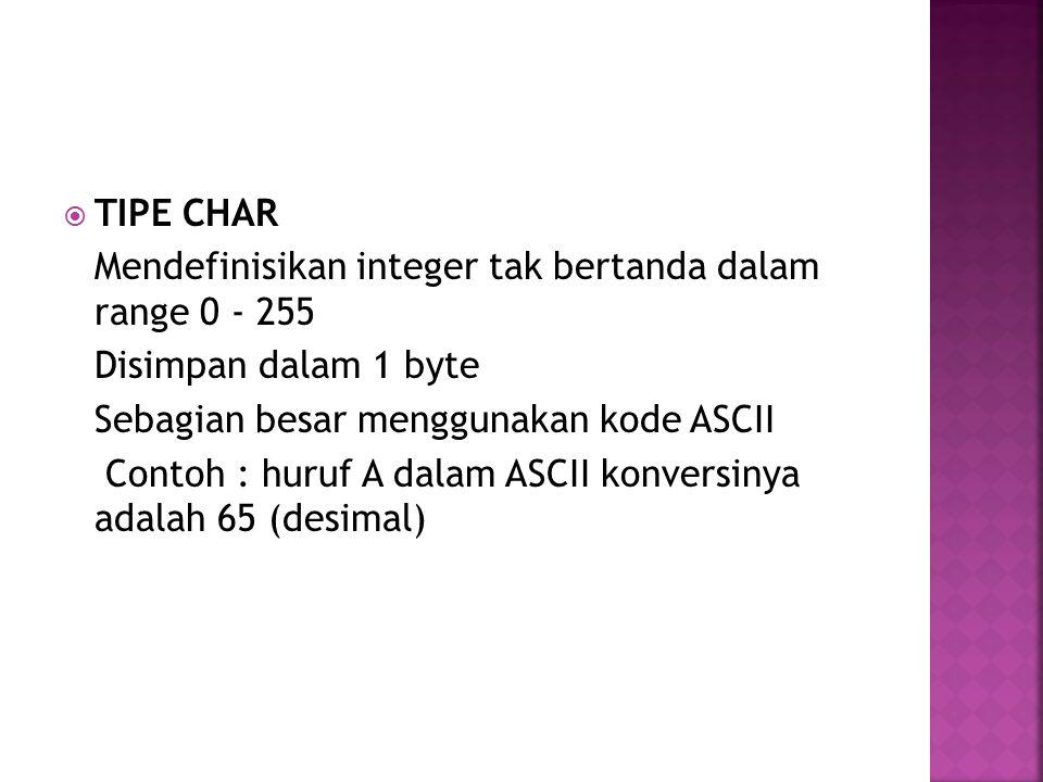  TIPE CHAR Mendefinisikan integer tak bertanda dalam range 0 - 255 Disimpan dalam 1 byte Sebagian besar menggunakan kode ASCII Contoh : huruf A dalam ASCII konversinya adalah 65 (desimal)