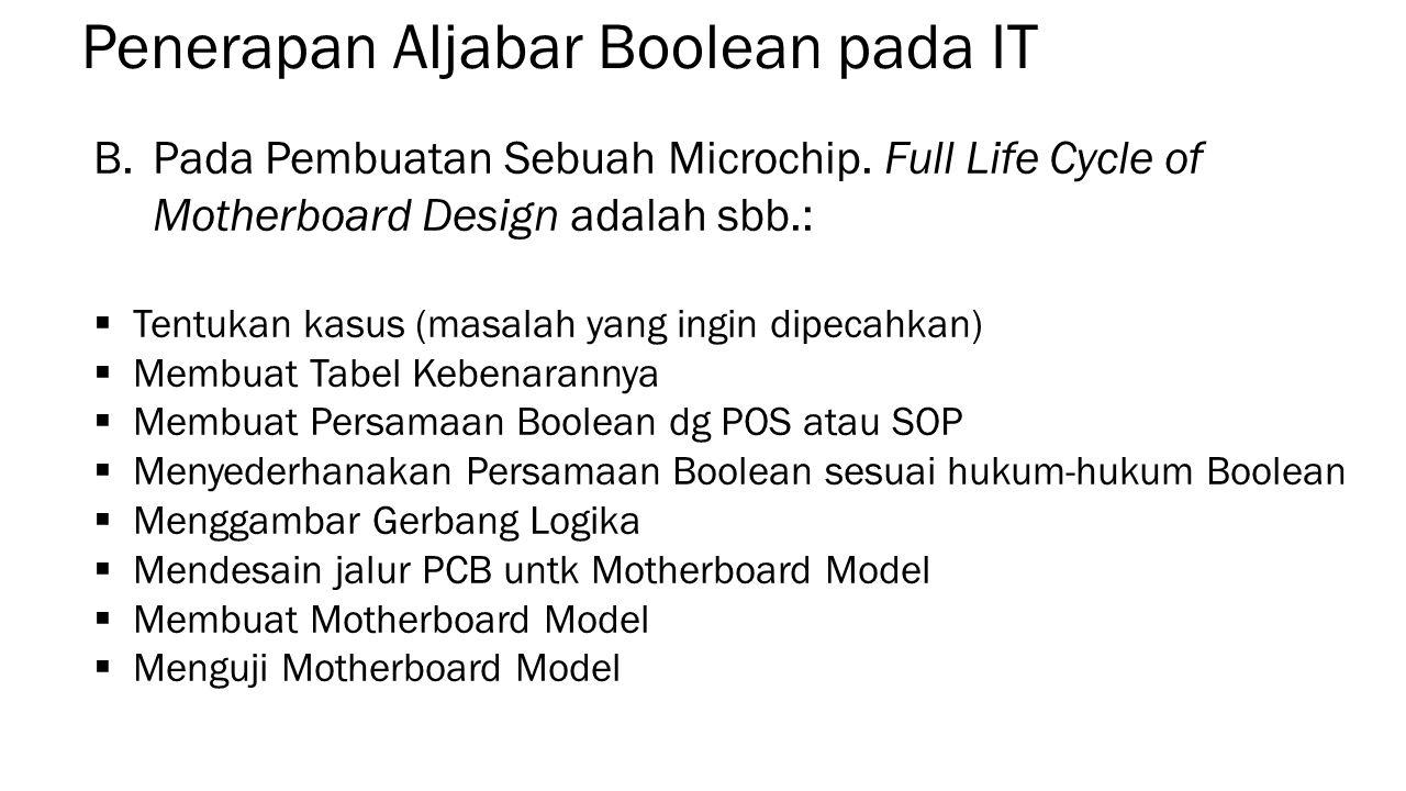 Penerapan Aljabar Boolean pada IT B.Pada Pembuatan Sebuah Microchip.