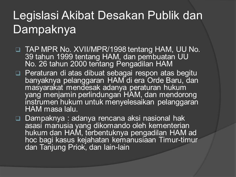 Legislasi Akibat Desakan Publik dan Dampaknya  TAP MPR No. XVII/MPR/1998 tentang HAM, UU No. 39 tahun 1999 tentang HAM, dan pembuatan UU No. 26 tahun