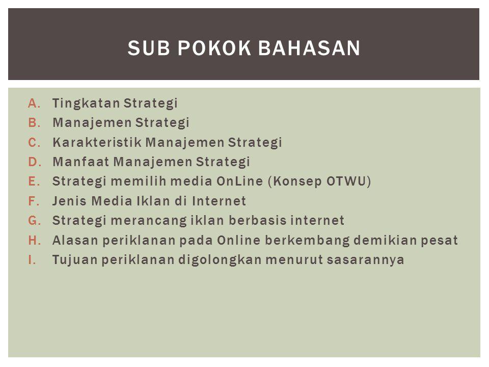 A.Tingkatan Strategi B.Manajemen Strategi C.Karakteristik Manajemen Strategi D.Manfaat Manajemen Strategi E.Strategi memilih media OnLine (Konsep OTWU