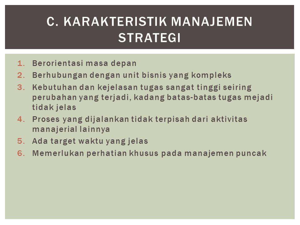 1.Berorientasi masa depan 2.Berhubungan dengan unit bisnis yang kompleks 3.Kebutuhan dan kejelasan tugas sangat tinggi seiring perubahan yang terjadi,