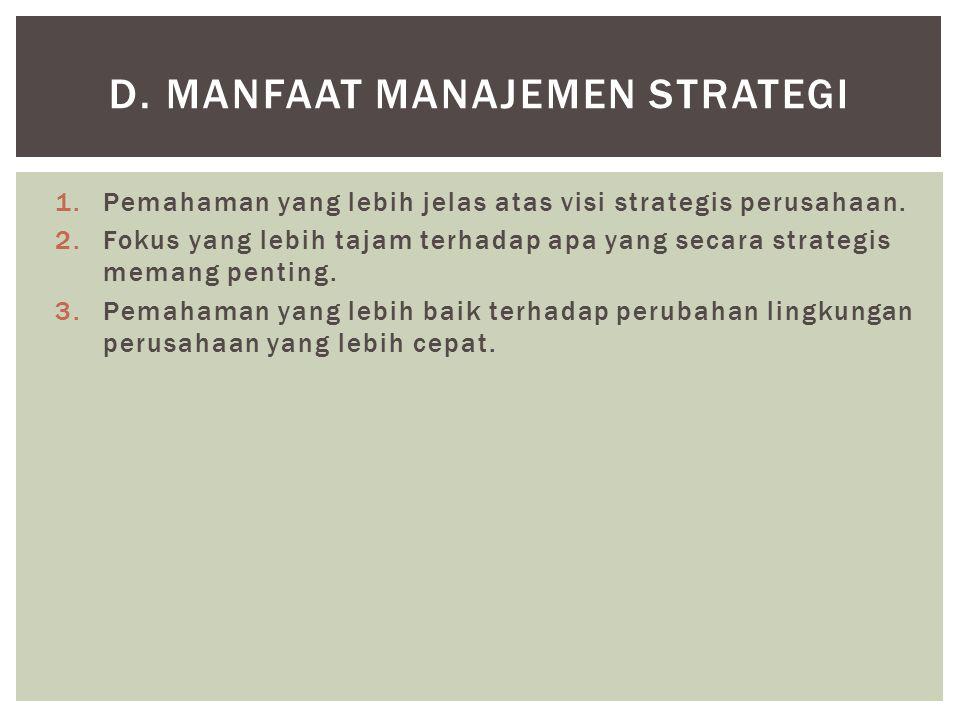 1.Pemahaman yang lebih jelas atas visi strategis perusahaan. 2.Fokus yang lebih tajam terhadap apa yang secara strategis memang penting. 3.Pemahaman y
