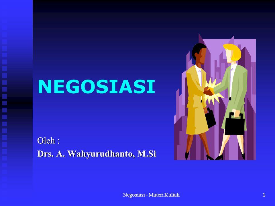Negosiasi - Materi Kuliah12 Tips bagi Negosiator : 1.Mempersiapkan diri dari segi mental.