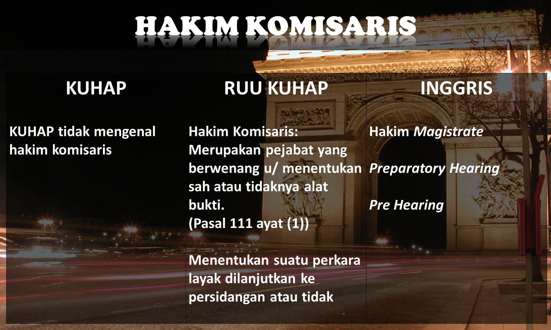 KUHAPRUU KUHAPINGGRIS KUHAP tidak mengenal hakim komisaris Hakim Komisaris: Merupakan pejabat yang berwenang u/ menentukan sah atau tidaknya alat bukti.