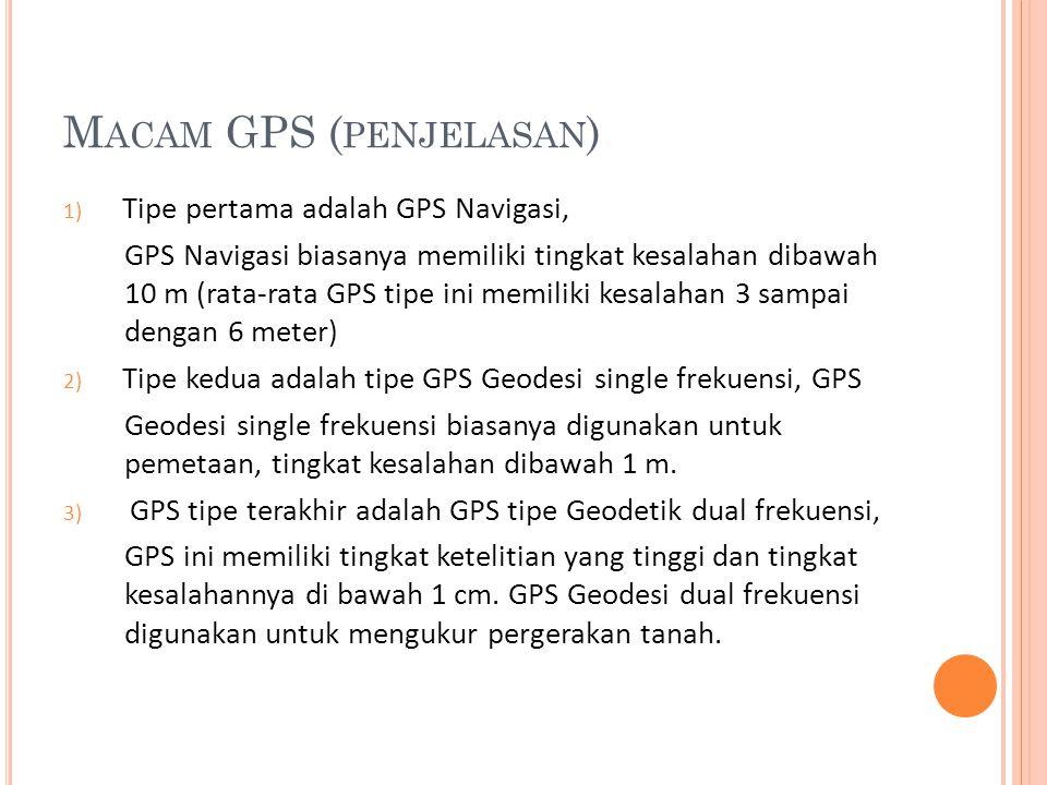 M ACAM GPS ( PENJELASAN ) 1) Tipe pertama adalah GPS Navigasi, GPS Navigasi biasanya memiliki tingkat kesalahan dibawah 10 m (rata-rata GPS tipe ini m