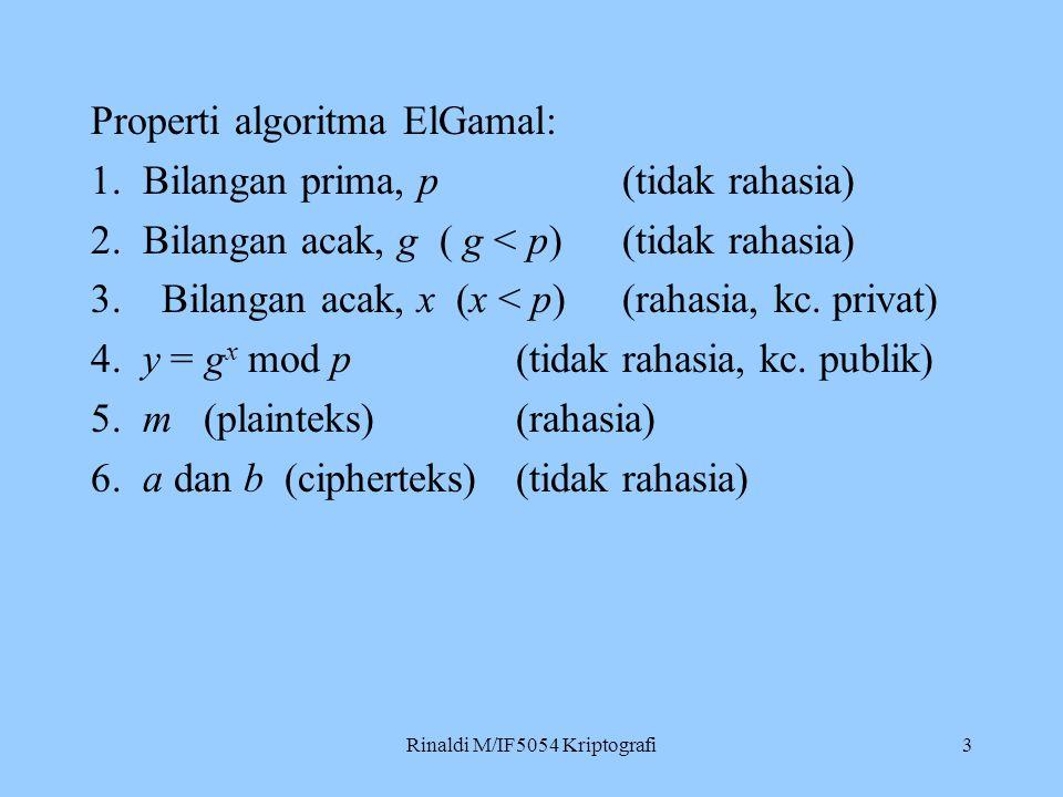Rinaldi M/IF5054 Kriptografi3 Properti algoritma ElGamal: 1. Bilangan prima, p(tidak rahasia) 2. Bilangan acak, g ( g < p) (tidak rahasia) 3.Bilangan