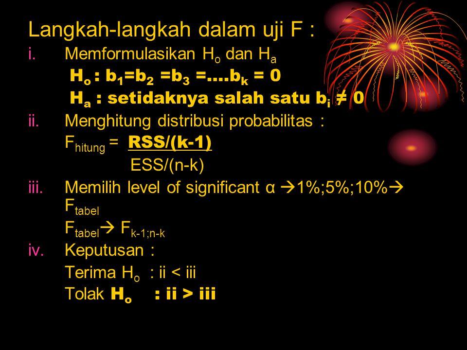 Langkah-langkah dalam uji F : i.Memformulasikan H o dan H a H o : b 1 =b 2 =b 3 =….b k = 0 H a : setidaknya salah satu b i ≠ 0 ii.Menghitung distribusi probabilitas : F hitung = RSS/(k-1) ESS/(n-k) iii.Memilih level of significant α  1%;5%;10%  F tabel F tabel  F k-1;n-k iv.Keputusan : Terima H o : ii < iii Tolak H o : ii > iii