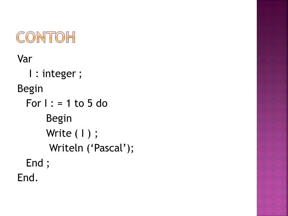 Var I : integer ; Begin For I : = 1 to 5 do Begin Write ( I ) ; Writeln ('Pascal'); End ; End.
