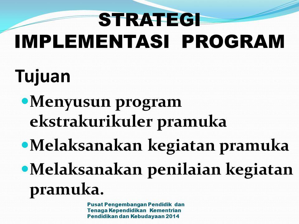 Tujuan Menyusun program ekstrakurikuler pramuka Melaksanakan kegiatan pramuka Melaksanakan penilaian kegiatan pramuka. Pusat Pengembangan Pendidik dan