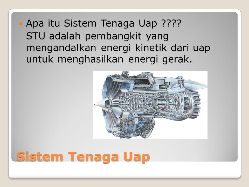 Sistem Tenaga Uap Apa itu Sistem Tenaga Uap ???? STU adalah pembangkit yang mengandalkan energi kinetik dari uap untuk menghasilkan energi gerak.