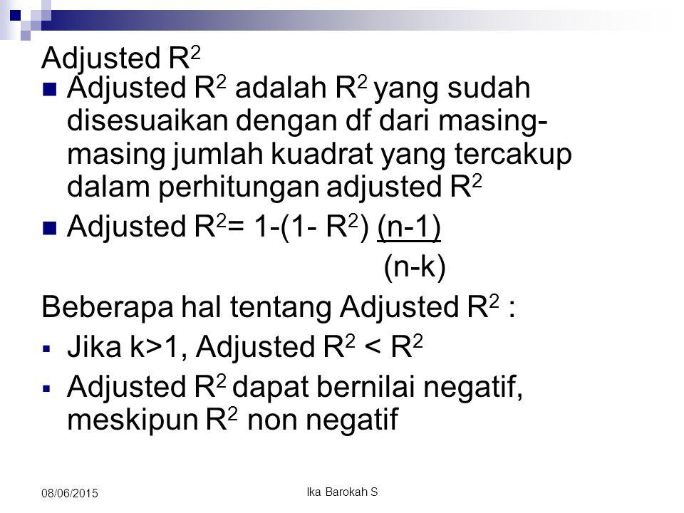 Adjusted R 2 Adjusted R 2 adalah R 2 yang sudah disesuaikan dengan df dari masing- masing jumlah kuadrat yang tercakup dalam perhitungan adjusted R 2 Adjusted R 2 = 1-(1- R 2 ) (n-1) (n-k) Beberapa hal tentang Adjusted R 2 :  Jika k>1, Adjusted R 2 < R 2  Adjusted R 2 dapat bernilai negatif, meskipun R 2 non negatif 08/06/2015 Ika Barokah S