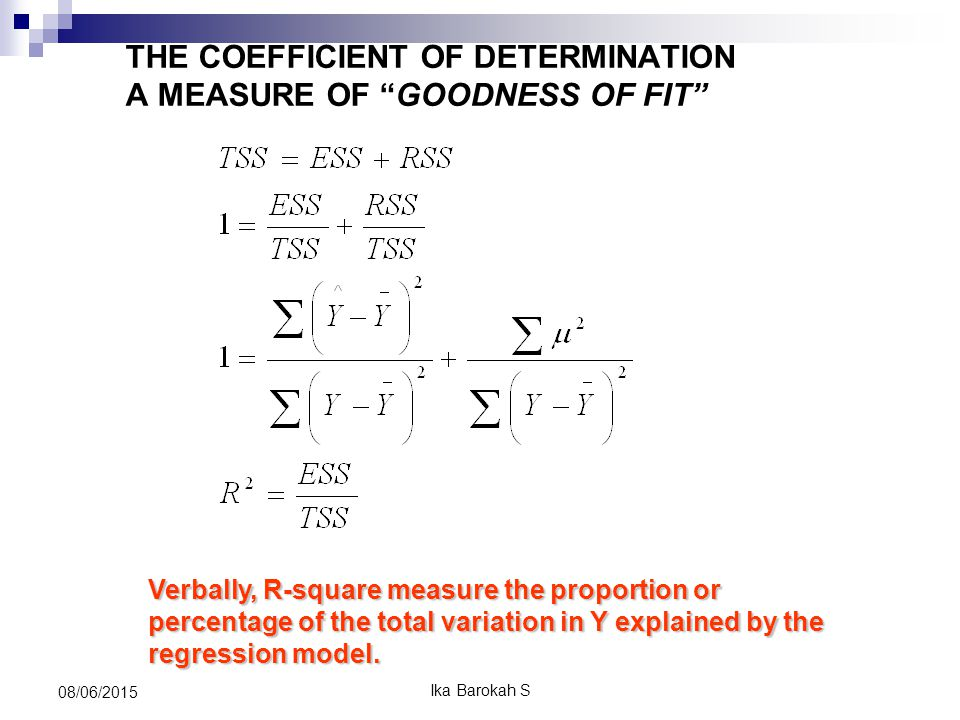 Verbally, R-square measure the proportion or percentage of the total variation in Y explained by the regression model.