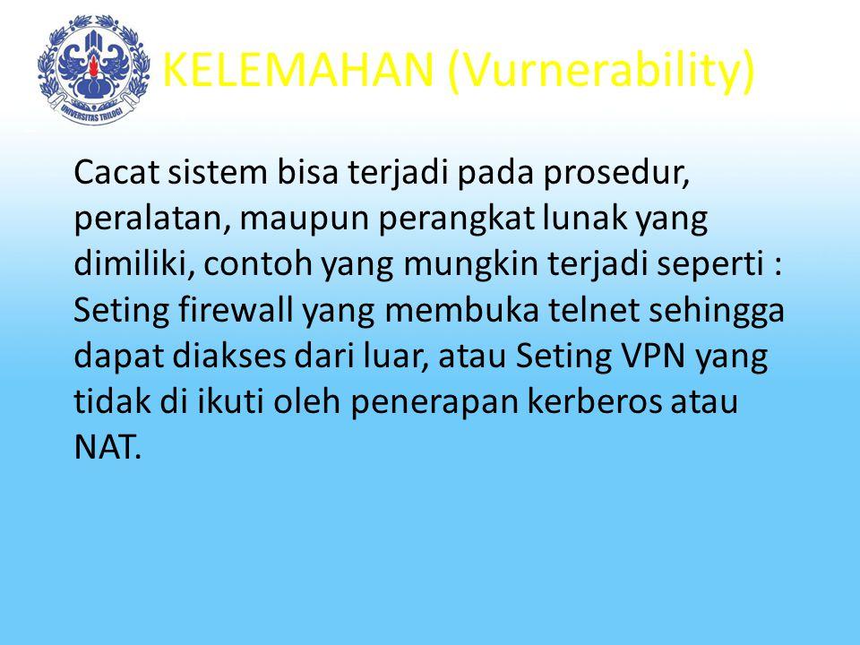 KELEMAHAN (Vurnerability) Adalah cacat atau kelemahan dari suatu sistem yang mungkin timbul pada saat mendesain, menetapkan prosedur, mengimplementasi
