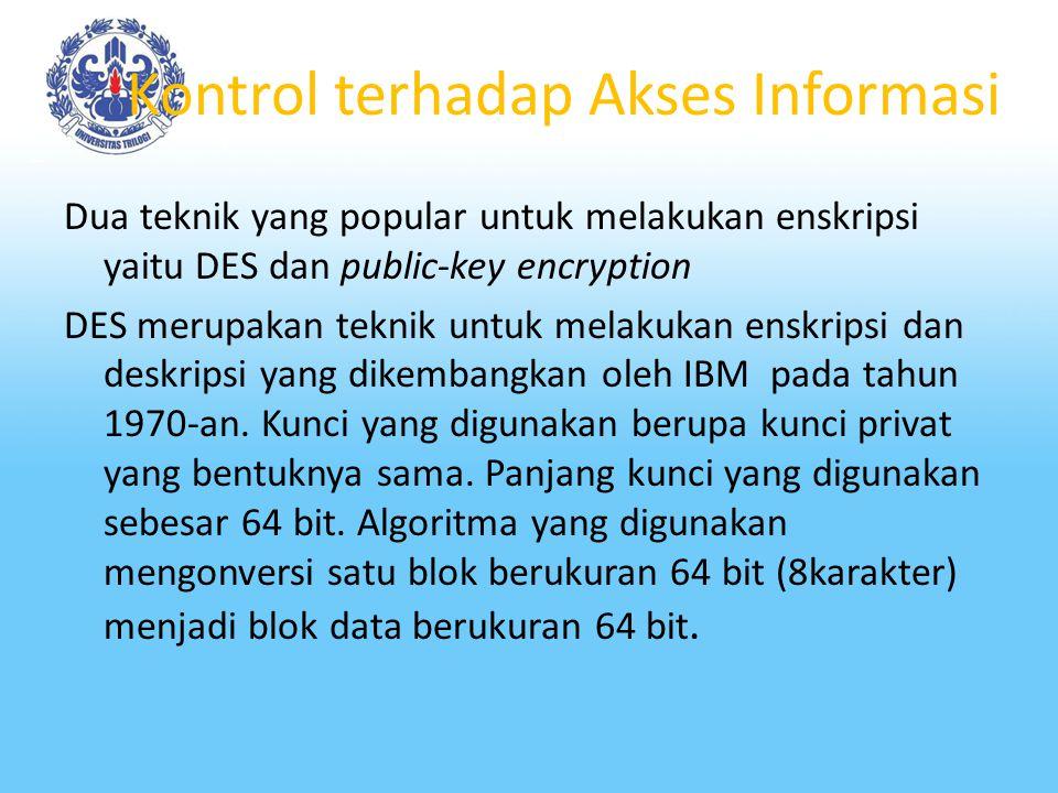 Kontrol terhadap Akses Informasi Studi tentang cara mengubah suatu informasi ke dalam bentuk yang tak dapat dibaca oleh orang lain dikenal dengan isti