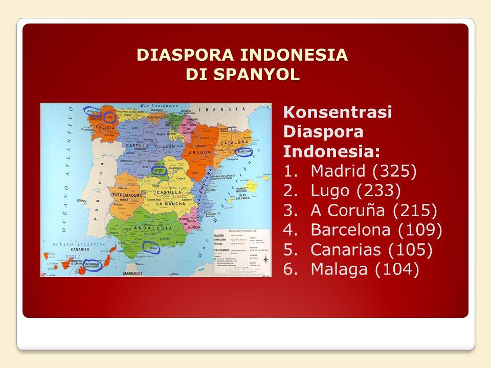 Konsentrasi Diaspora Indonesia: 1.Madrid (325) 2.Lugo (233) 3.A Coruña (215) 4.Barcelona (109) 5.Canarias (105) 6.Malaga (104)