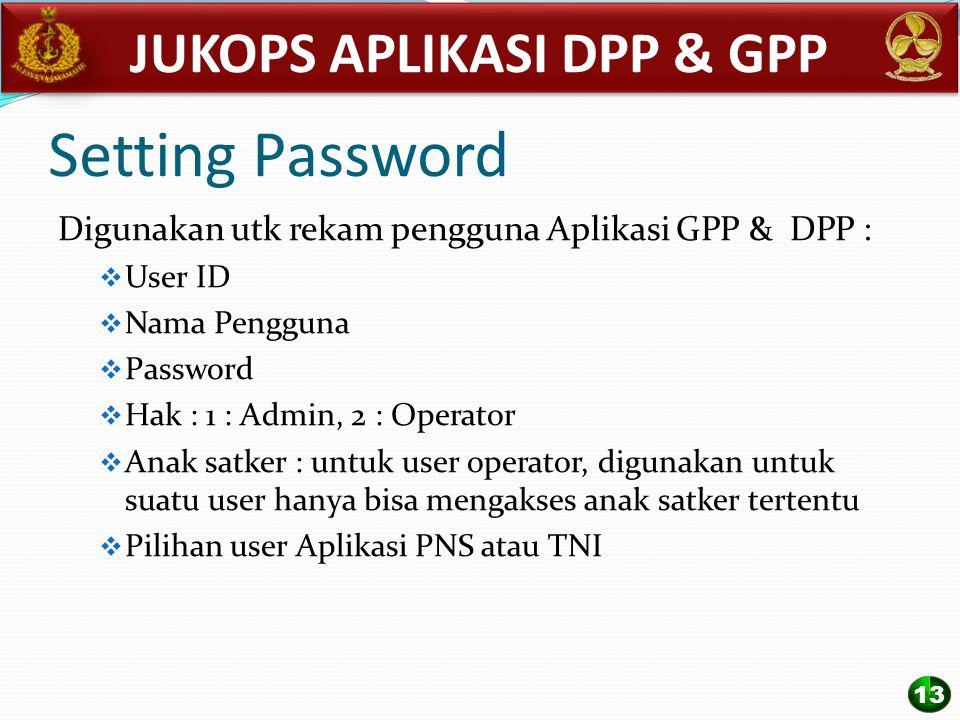 Setting Password Digunakan utk rekam pengguna Aplikasi GPP & DPP :  User ID  Nama Pengguna  Password  Hak : 1 : Admin, 2 : Operator  Anak satker