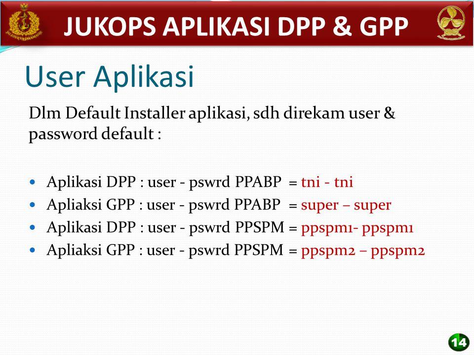 User Aplikasi Dlm Default Installer aplikasi, sdh direkam user & password default : Aplikasi DPP : user - pswrd PPABP = tni - tni Apliaksi GPP : user