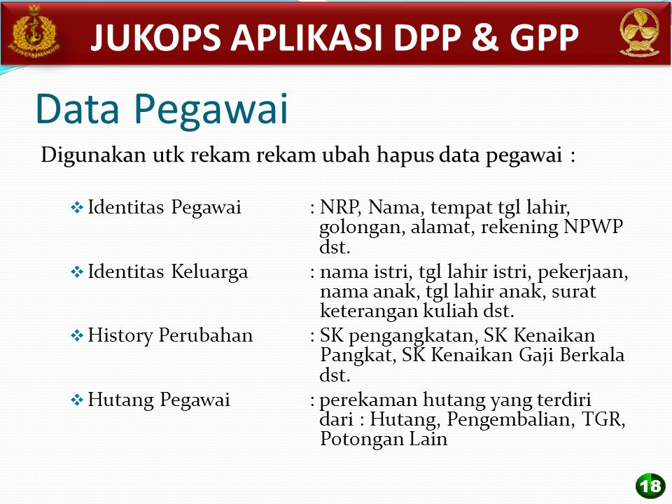Data Pegawai Digunakan utk rekam rekam ubah hapus data pegawai :  Identitas Pegawai : NRP, Nama, tempat tgl lahir, golongan, alamat, rekening NPWP ds