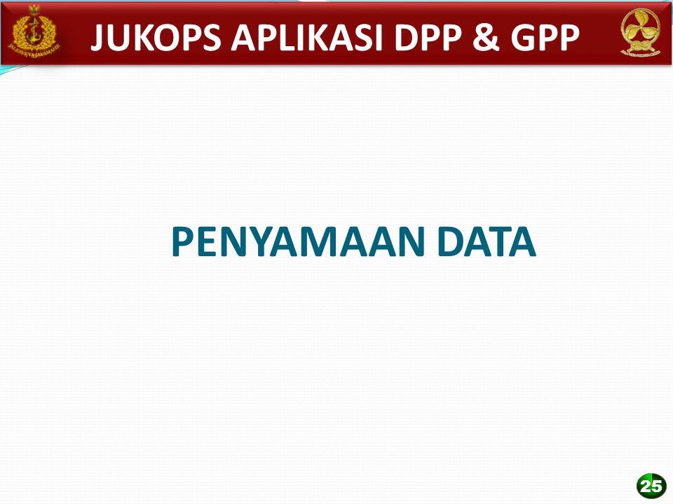 PENYAMAAN DATA JUKOPS APLIKASI DPP & GPP 25