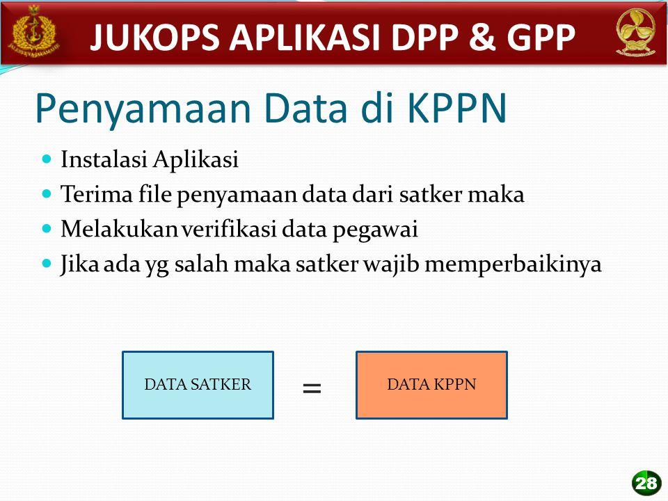 Penyamaan Data di KPPN Instalasi Aplikasi Terima file penyamaan data dari satker maka Melakukan verifikasi data pegawai Jika ada yg salah maka satker