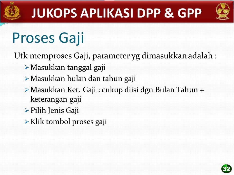 Proses Gaji Utk memproses Gaji, parameter yg dimasukkan adalah :  Masukkan tanggal gaji  Masukkan bulan dan tahun gaji  Masukkan Ket. Gaji : cukup