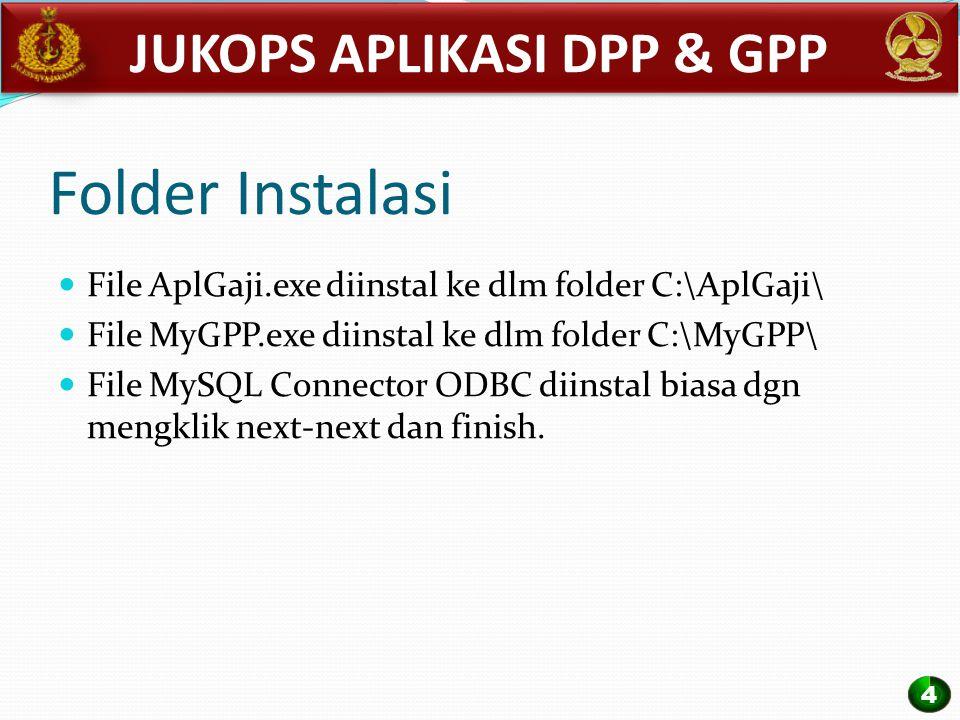 Folder Instalasi File AplGaji.exe diinstal ke dlm folder C:\AplGaji\ File MyGPP.exe diinstal ke dlm folder C:\MyGPP\ File MySQL Connector ODBC diinsta