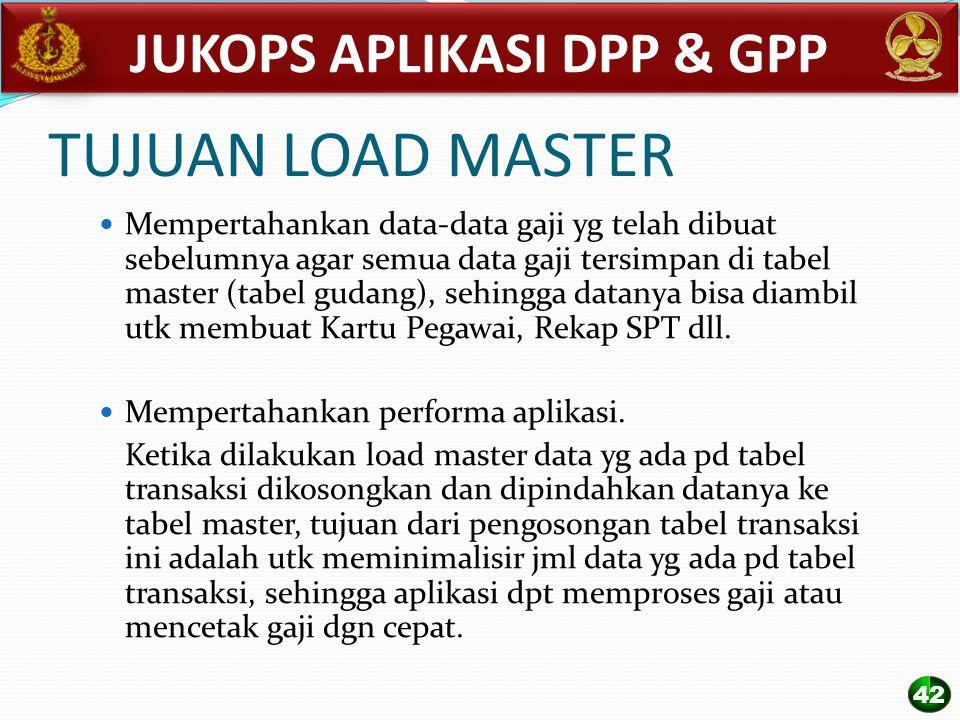 TUJUAN LOAD MASTER Mempertahankan data-data gaji yg telah dibuat sebelumnya agar semua data gaji tersimpan di tabel master (tabel gudang), sehingga da