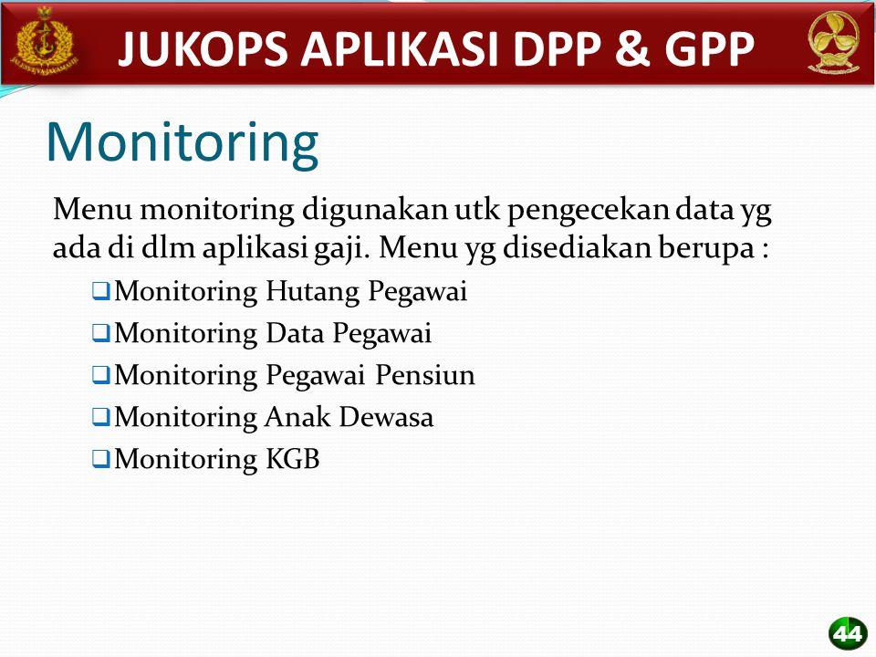 Monitoring Menu monitoring digunakan utk pengecekan data yg ada di dlm aplikasi gaji. Menu yg disediakan berupa :  Monitoring Hutang Pegawai  Monito