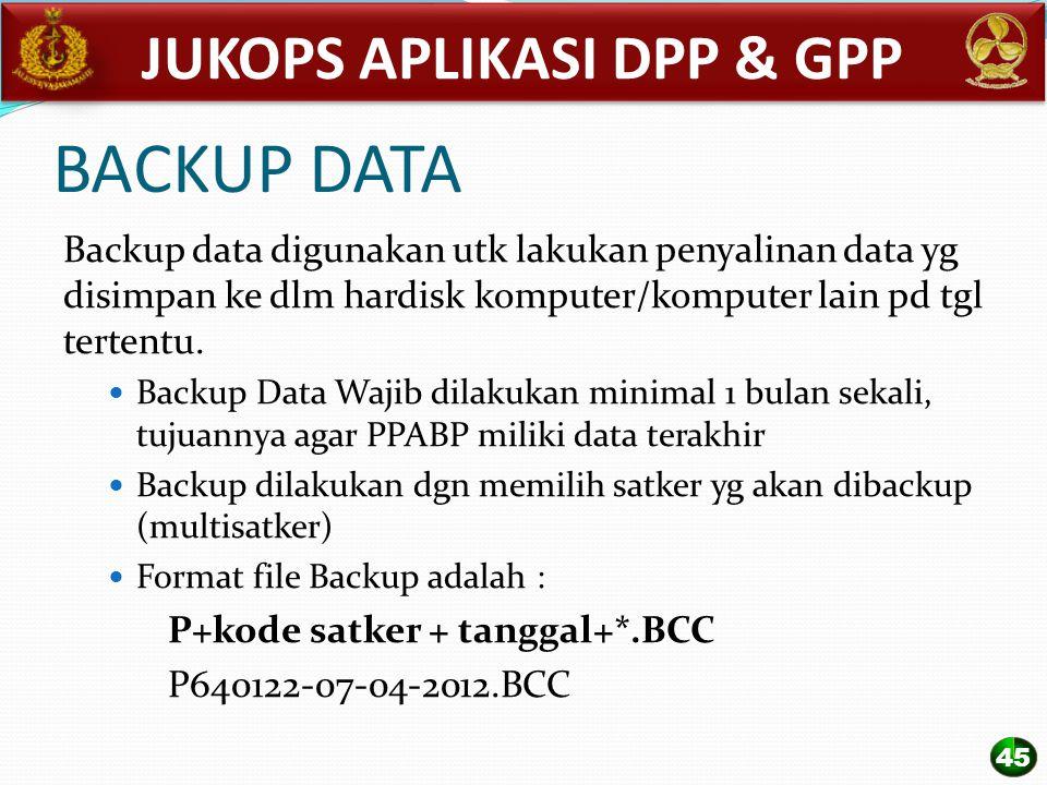 BACKUP DATA Backup data digunakan utk lakukan penyalinan data yg disimpan ke dlm hardisk komputer/komputer lain pd tgl tertentu. Backup Data Wajib dil
