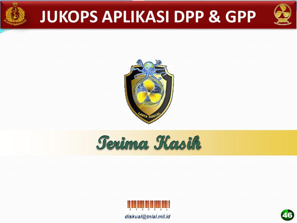 diskual@tnial.mil.id Terima Kasih 46 Terima Kasih JUKOPS APLIKASI DPP & GPP