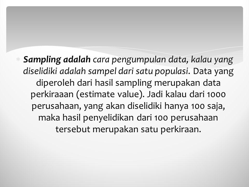 Sampling adalah cara pengumpulan data, kalau yang diselidiki adalah sampel dari satu populasi. Data yang diperoleh dari hasil sampling merupakan dat