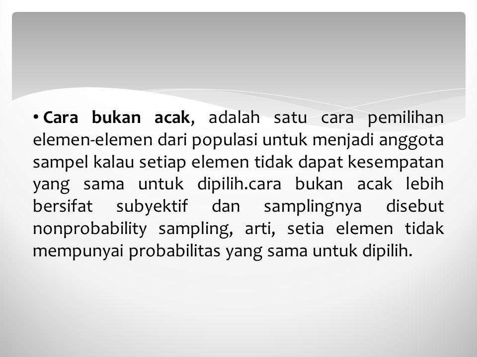 Cara bukan acak, adalah satu cara pemilihan elemen-elemen dari populasi untuk menjadi anggota sampel kalau setiap elemen tidak dapat kesempatan yang s