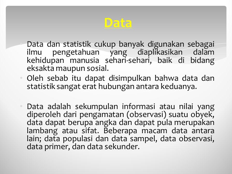 Data Data dan statistik cukup banyak digunakan sebagai ilmu pengetahuan yang diaplikasikan dalam kehidupan manusia sehari-sehari, baik di bidang eksak