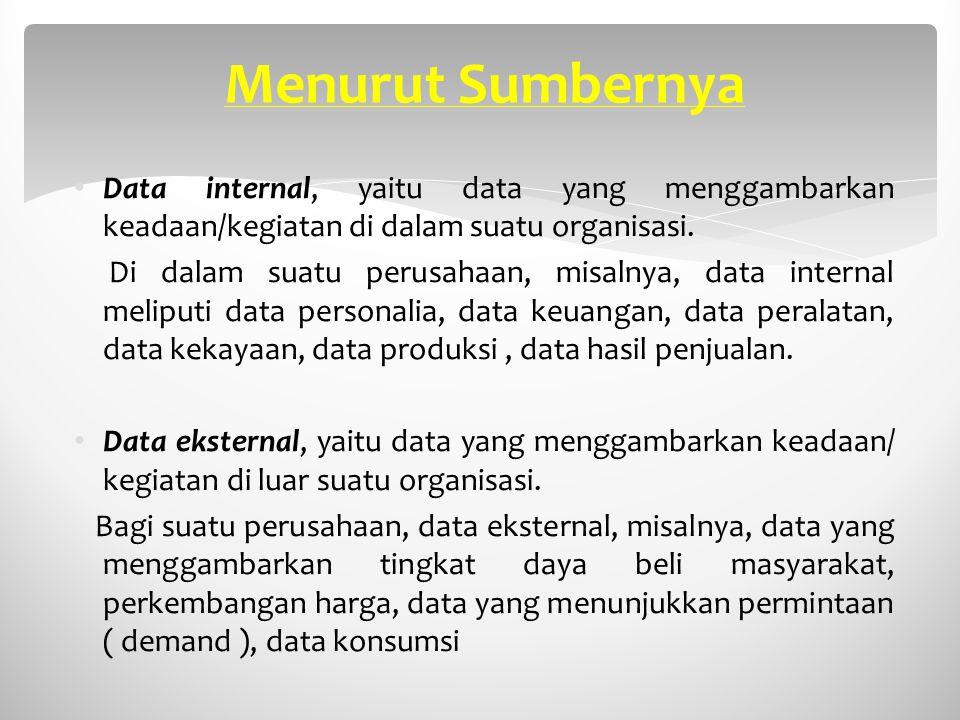 Menurut Sumbernya Data internal, yaitu data yang menggambarkan keadaan/kegiatan di dalam suatu organisasi. Di dalam suatu perusahaan, misalnya, data i