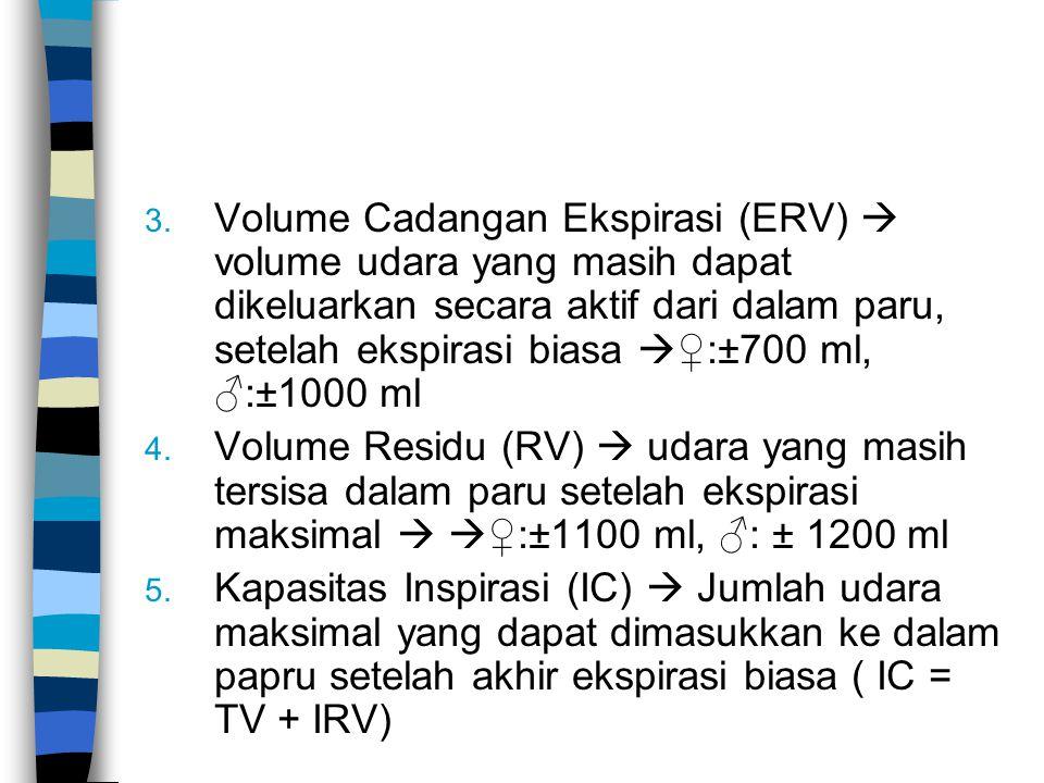 3. Volume Cadangan Ekspirasi (ERV)  volume udara yang masih dapat dikeluarkan secara aktif dari dalam paru, setelah ekspirasi biasa  ♀:±700 ml, ♂:±1