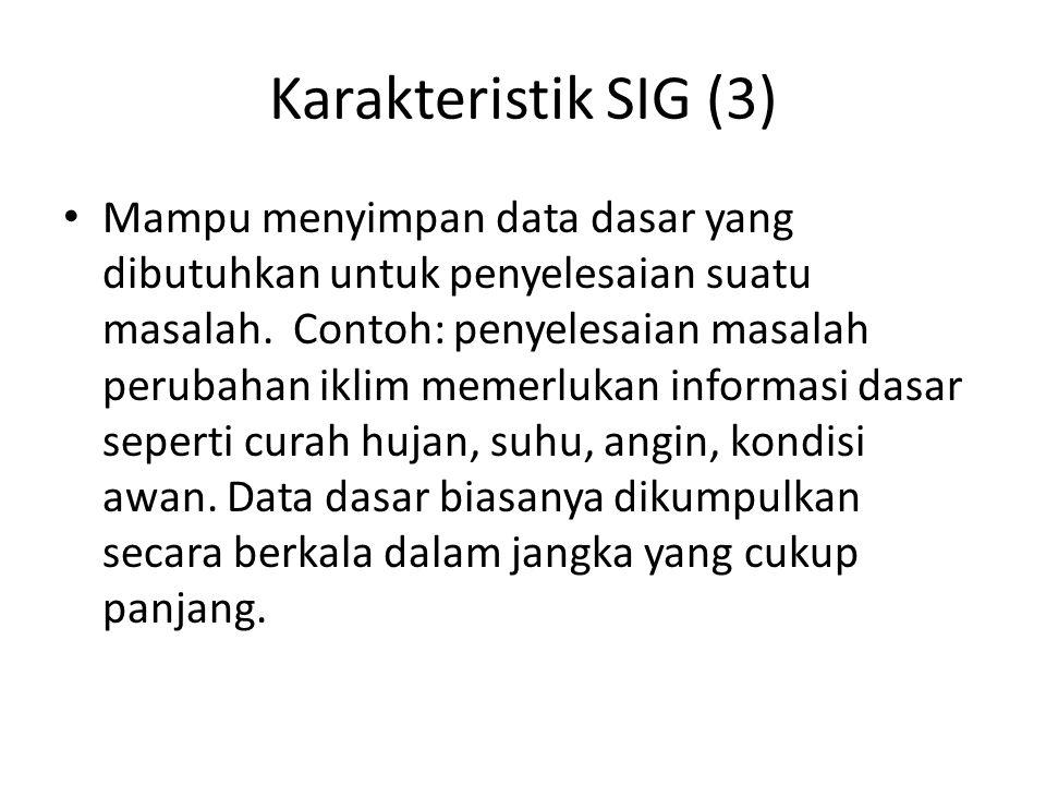 Karakteristik SIG (3) Mampu menyimpan data dasar yang dibutuhkan untuk penyelesaian suatu masalah.
