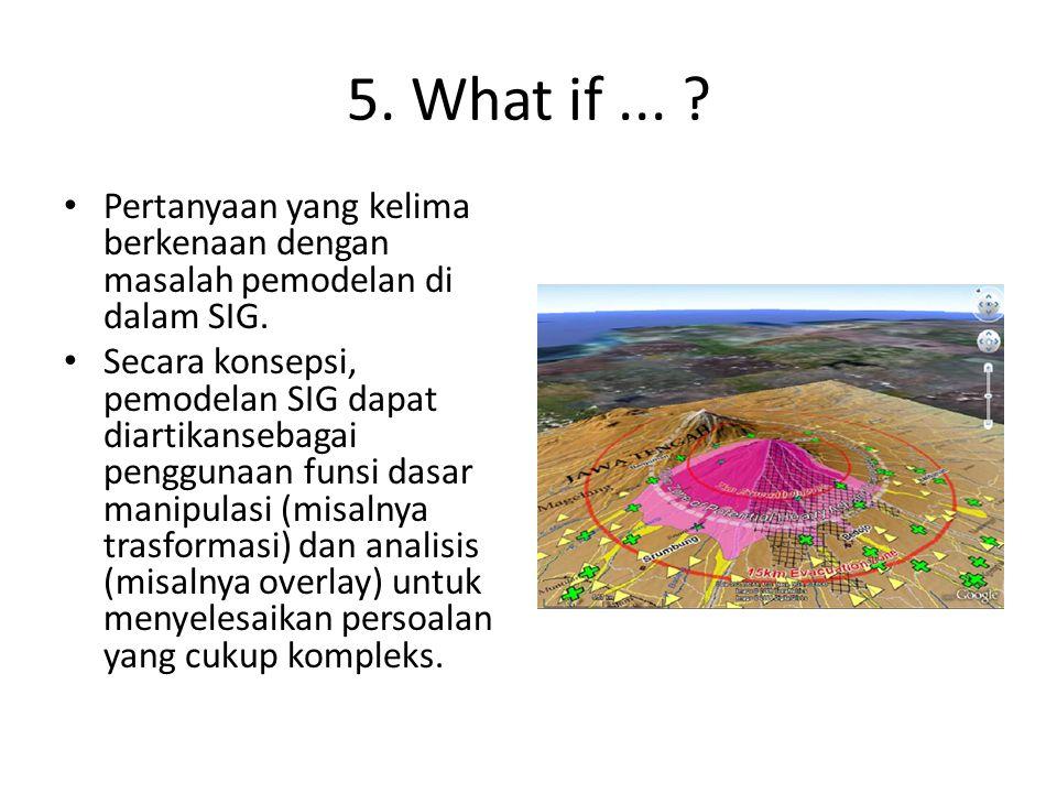 5.What if... Pertanyaan yang kelima berkenaan dengan masalah pemodelan di dalam SIG.