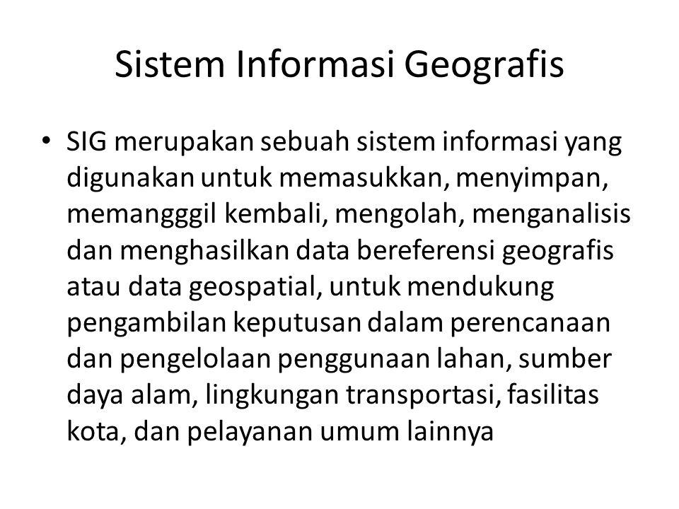 Sistem Informasi Geografis SIG merupakan sebuah sistem informasi yang digunakan untuk memasukkan, menyimpan, memangggil kembali, mengolah, menganalisis dan menghasilkan data bereferensi geografis atau data geospatial, untuk mendukung pengambilan keputusan dalam perencanaan dan pengelolaan penggunaan lahan, sumber daya alam, lingkungan transportasi, fasilitas kota, dan pelayanan umum lainnya