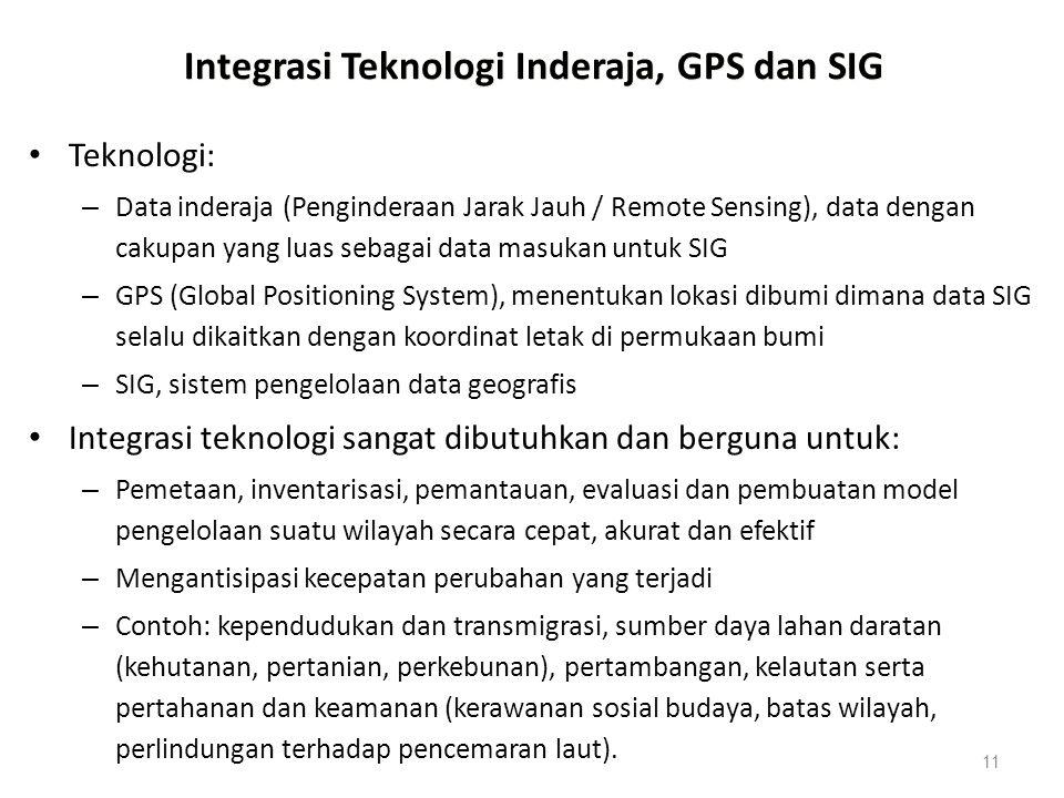 11 Integrasi Teknologi Inderaja, GPS dan SIG Teknologi: – Data inderaja (Penginderaan Jarak Jauh / Remote Sensing), data dengan cakupan yang luas seba