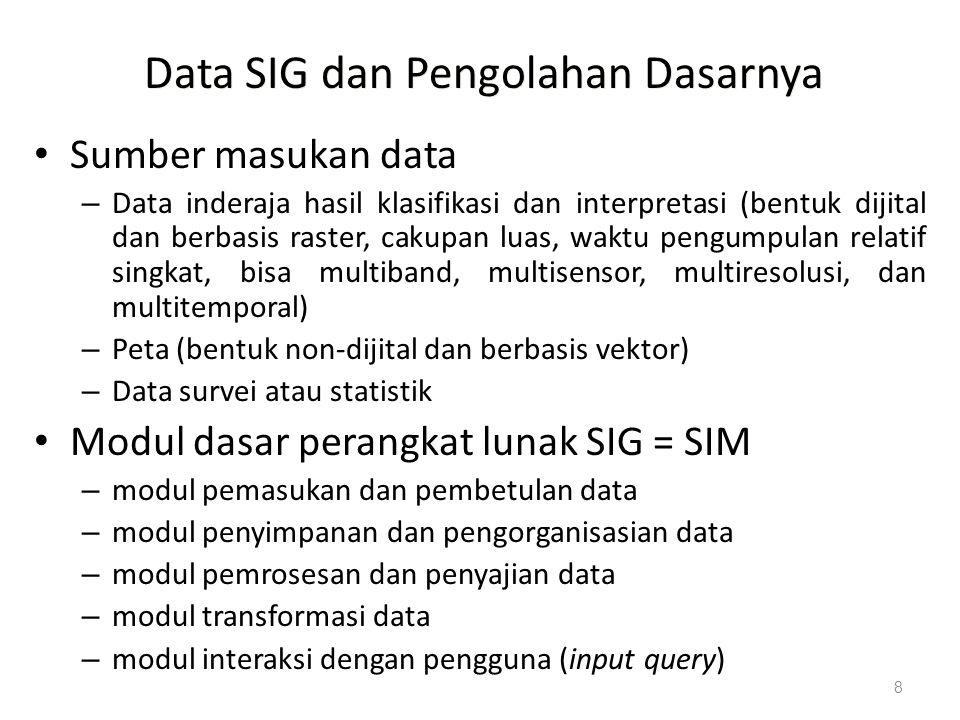 8 Data SIG dan Pengolahan Dasarnya Sumber masukan data – Data inderaja hasil klasifikasi dan interpretasi (bentuk dijital dan berbasis raster, cakupan